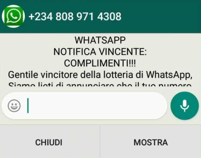Falsa lotteria di Whatsapp