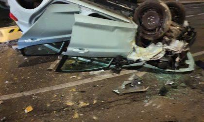 Oleggio incidente sulla Statale: auto ribaltata