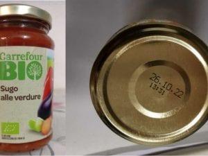 """Nuova allerta alimentare, ritirato dal commercio un lotto del """"Sugo alle verdure biologico"""" a marchio Carrefour Bio"""