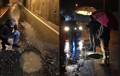Invorio: per la forte pioggia si sono aperte due buche in via Battisti nella notte
